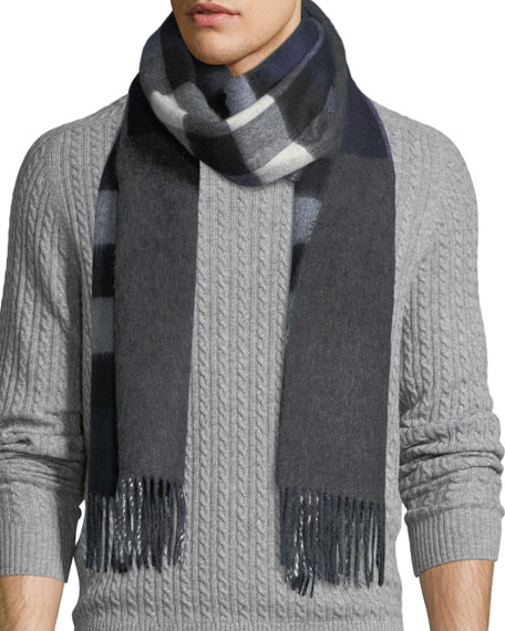 Burberry Men's Slim Cashmere Mega-Check to Solid Scarf,