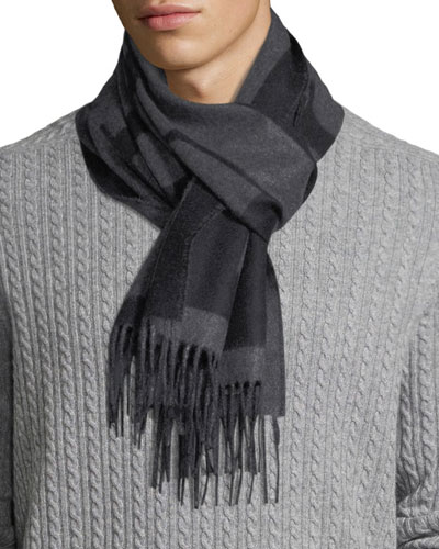 Men's Slim Cashmere Check Scarf