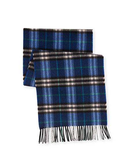 Castleford Check Cashmere Scarf, Blue