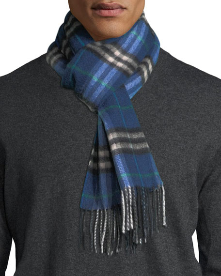 Burberry Castleford Check Cashmere Scarf, Blue