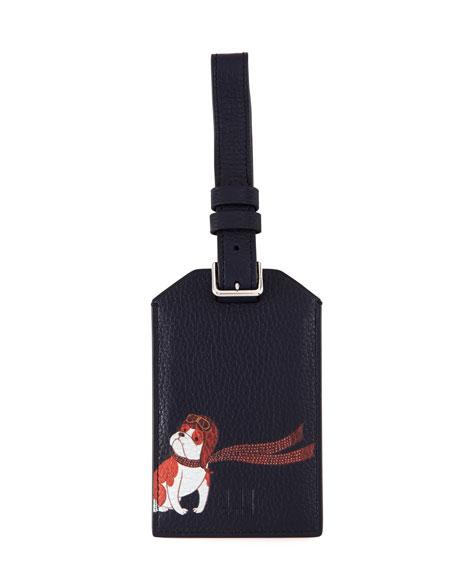 Boston Bulldog Leather Luggage Tag