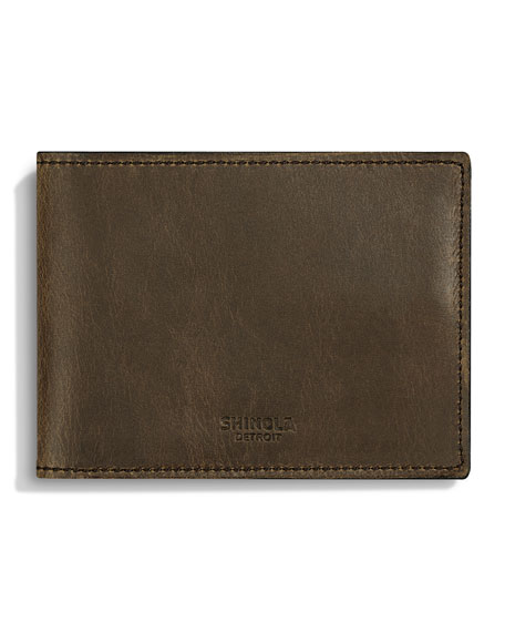 Shinola Men's Slim Leather Bi-Fold Wallet