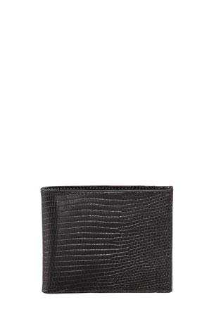 Neiman Marcus Lizard Slim Wallet, Black