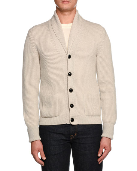 TOM FORD Iconic Shawl-Collar Cardigan, Light Gray