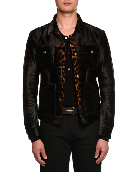 TOM FORD Leopard-Print Leather Jean-Style Jacket