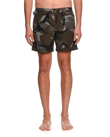 Camouflage-Print Swim Trunks