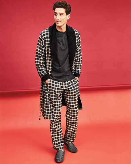 Kalib Plaid Fleece-Lined Robe