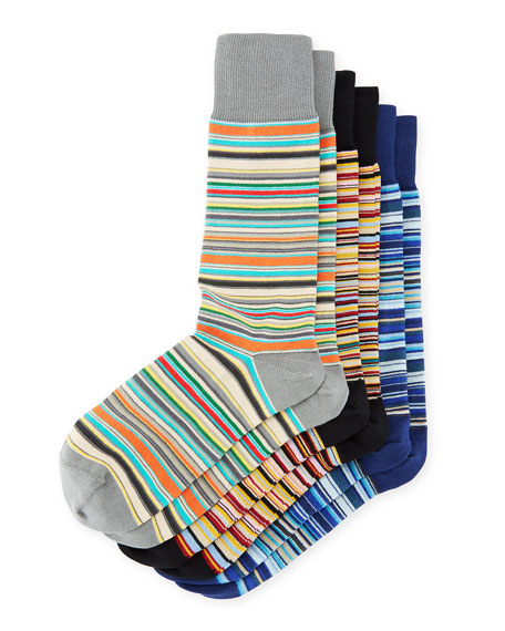 Paul Smith 3-Pack Cotton-Blend Striped Socks