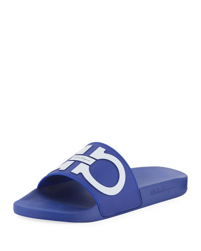 Men's Gancini Pool Slide Sandal, Blue