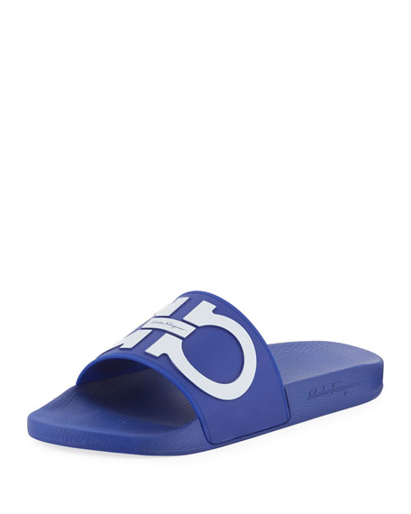 Salvatore Ferragamo Men's Gancini Pool Slide Sandal, Blue
