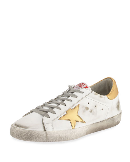 Golden Goose Men's Distressed Star Leather Low-Top Sneaker,