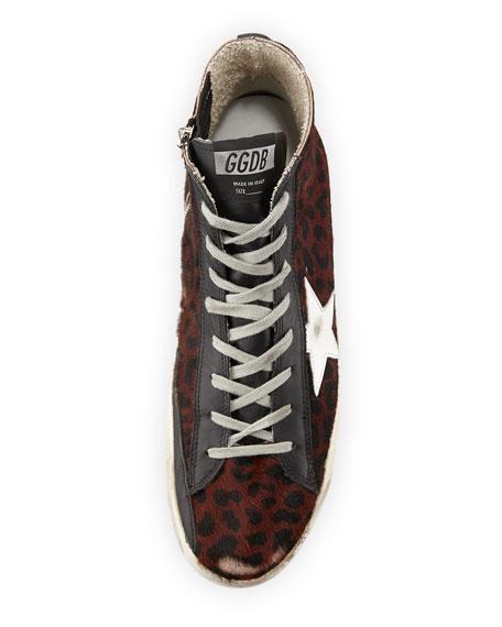 Leopard-Print Calf Hair High-Top Sneaker
