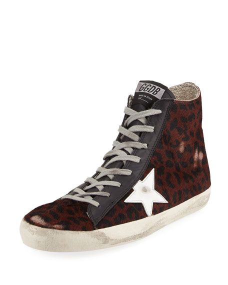 Golden Goose Men's Leopard-Print Calf Hair High-Top Sneaker