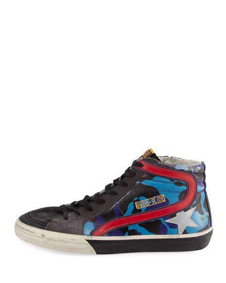 Men's Camo Star Leather High-Top Sneakers, Blue