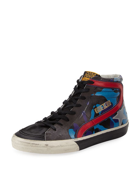 Golden Goose Men's Camo Star Leather High-Top Sneakers,