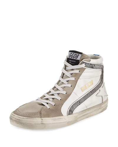 Men's Moon Landing Star Suede High-Top Sneaker, White
