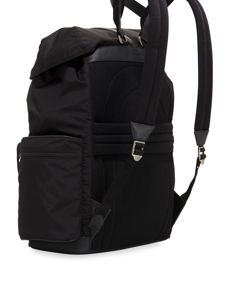 Nylon Backpack with Leather Trim