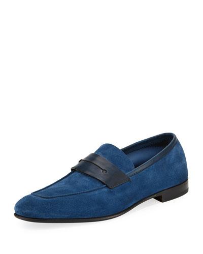La Sola Suede Penny Loafer, Blue