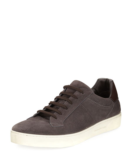 Ermenegildo Zegna Vulcanizzato Men's Suede Low-Top Sneaker and