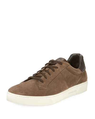 Vulcanizzato Men's Suede Low-Top Sneaker with Maserati Embossed Logo