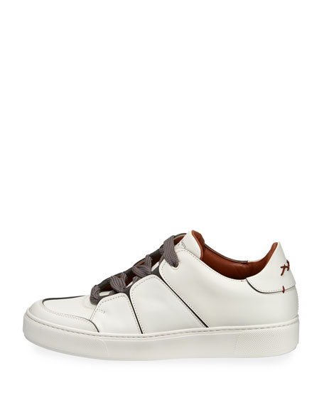 Tiziano Men's Leather Low-Top Sneakers, White