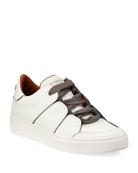 Ermenegildo Zegna Tiziano Men's Leather Low-Top Sneaker, White