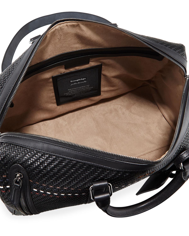 9904b86d99 Ermenegildo Zegna Hold All 55 Pelle Tessuta Striped Weekender Duffel Bag |  Neiman Marcus