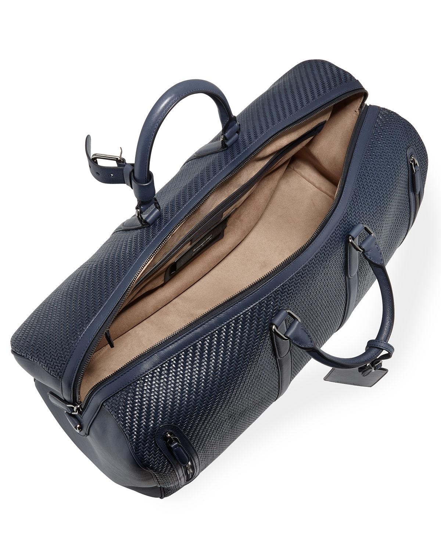 a833af7b27 Ermenegildo Zegna Hold-All 55 Pelle Tessuta Weekender Bag | Neiman Marcus