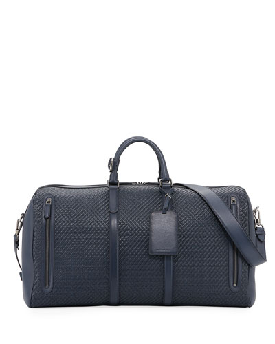 Hold-All 55 Pelle Tessuta Weekender Bag