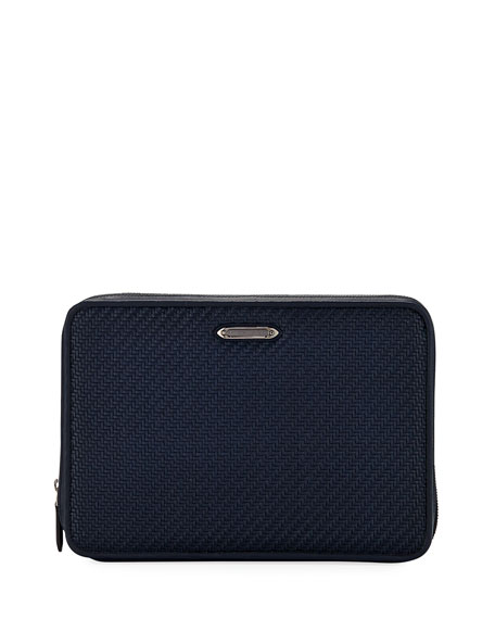 Ermenegildo Zegna Woven Zip-Around Tech Case