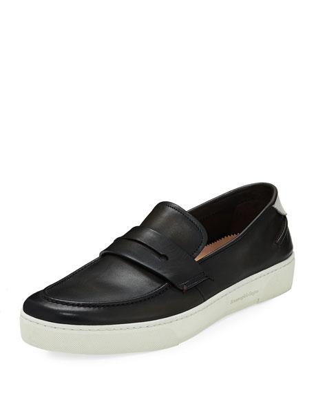 Ermenegildo Zegna Vulcanizzato Men's Leather Boat Shoes