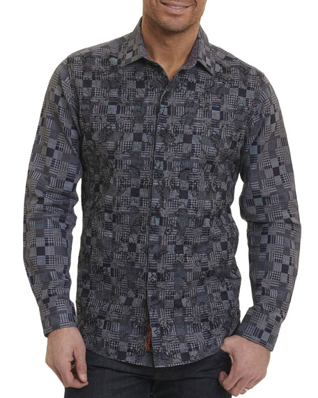 Robert Graham Harrisville Grid-Print Sport Shirt