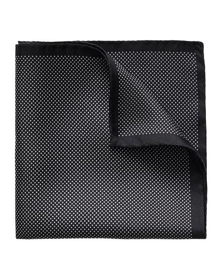 Polka-Dot Silk Pocket Square, Black
