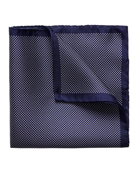 Polka-Dot Silk Pocket Square, Navy