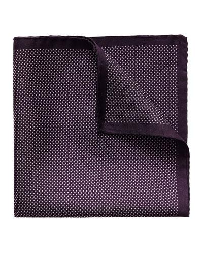 Polka-Dot Silk Pocket Square, Purple