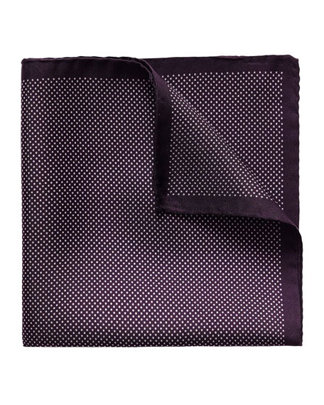 Eton Polka-Dot Silk Pocket Square, Purple