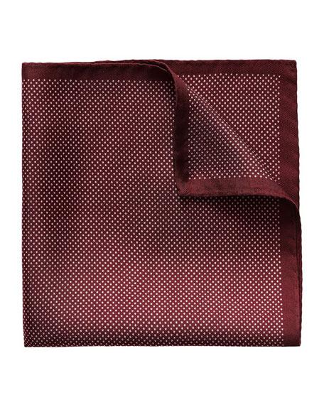 Eton Polka-Dot Silk Pocket Square, Burgundy