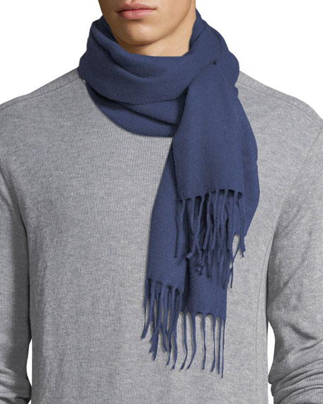 Solid Cashmere Scarf, Blue