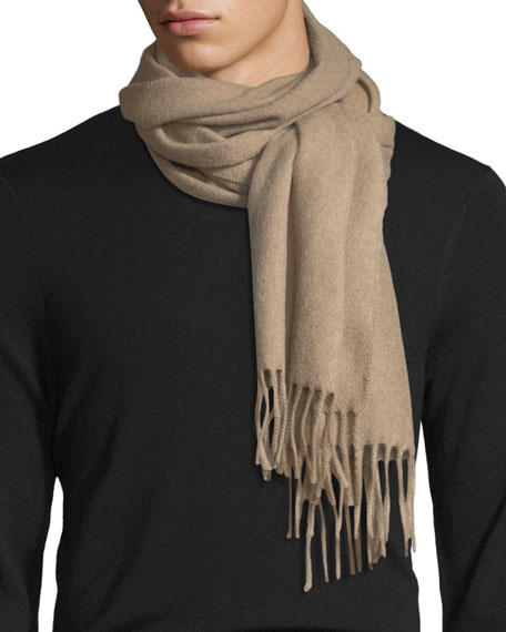 Solid Cashmere Scarf, Camel