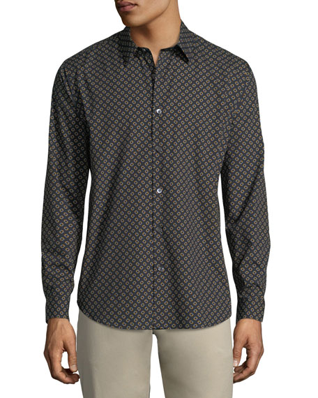 Ellipse-Print Cotton Sport Shirt
