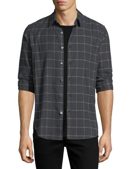 Grid-Print Flannel Sport Shirt