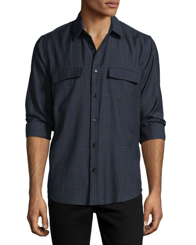 Two-Pocket Plaid Sport Shirt