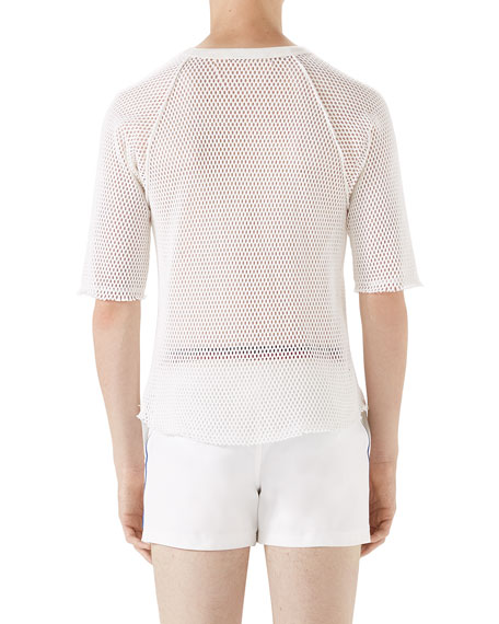 Logo-Graphic Cotton Mesh T-Shirt