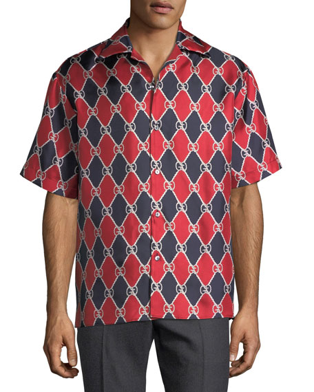 Gucci Graphic Logo Pattern Silk Bowling Shirt
