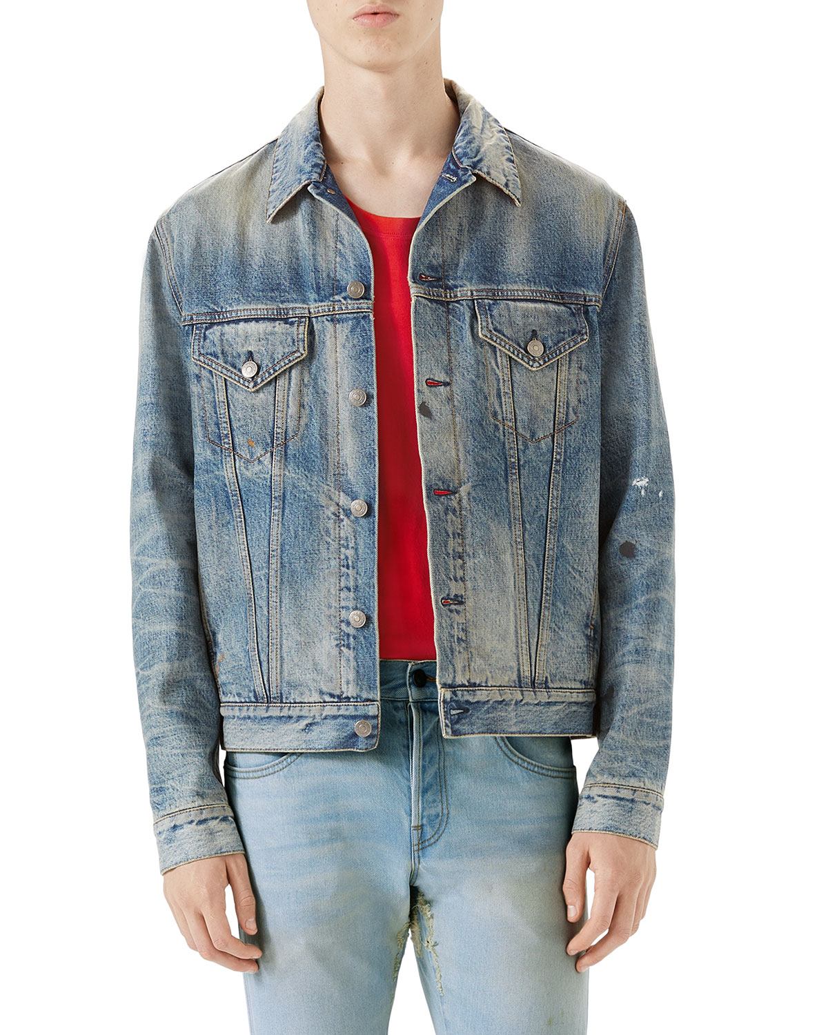 7b9ddc693 Gucci Punk Denim Jacket | Neiman Marcus