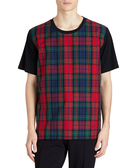 Burberry Cotton T-Shirt w/ Tartan Check Panel