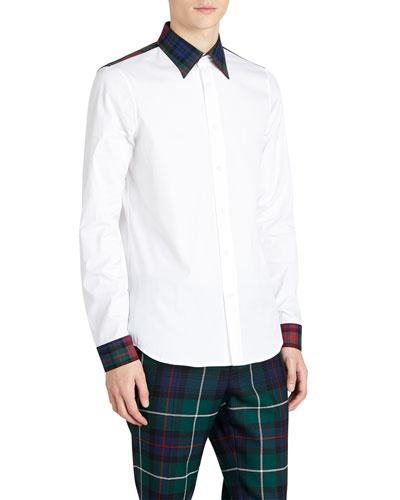 Cotton Poplin Sport Shirt w/ Tartan Check Details