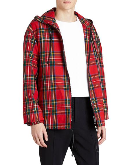 Hooded Zip-Front Tartan Check Wind-Block Jacket