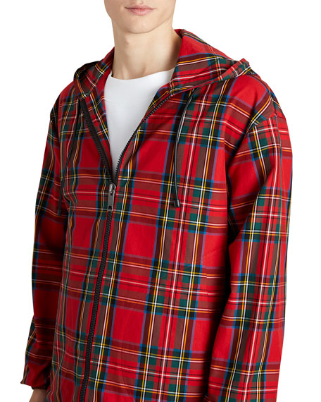 Hooded Zip-Front Tartan Check Wind-Block Jacket