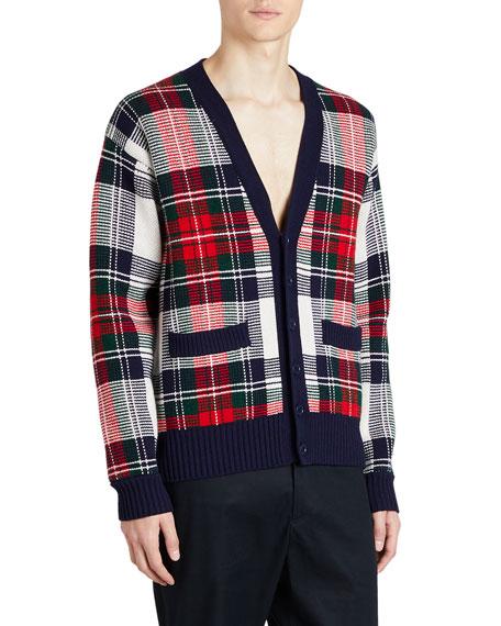 Cashmere/Wool Tartan Check Jacquard Cardigan